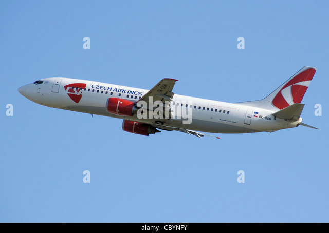 CSA Czech Airlines Boeing 737-400 (OK-DGM) takes off from London Heathrow Airport. - Stock Image