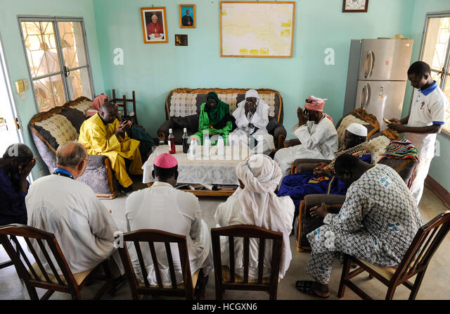 BURKINA FASO Dori, dialogue Christianity and Islam, invitation of new appointed Imam by catholic priests at diocese - Stock-Bilder