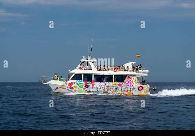 Fun Boat from Ibiza to Formentera, Balearic Islands, Spain, - Stock Image