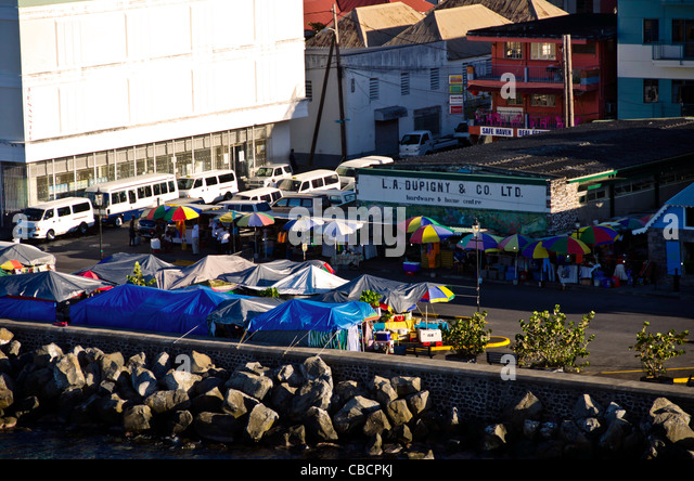 Roseau Dominica market umbrellas aerial overview of this Eastern Caribbean cruise port - Stock Image