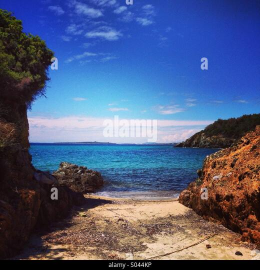 Hidden little beach - Stock Image