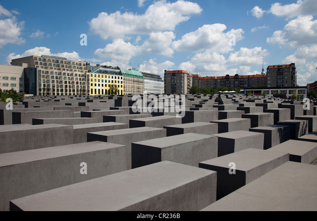 Concrete sculptures in city center - Stock Image