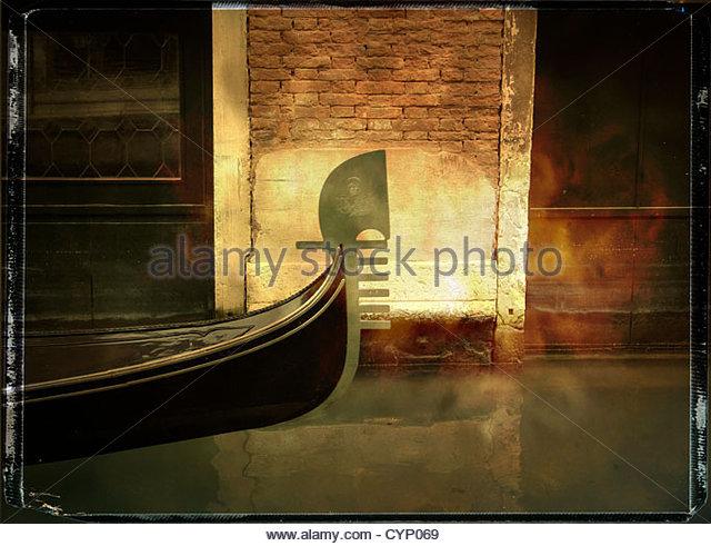 Bow of a gondola, Venice, Italy - Stock Image