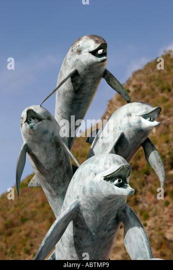 Sint Maarten Dutch Philipsburg dolphin statue art Point Blanche - Stock Image