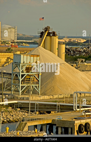 Tampa Bay Florida  Port of Tampa sand loading area open space text space copy space type space - Stock Image