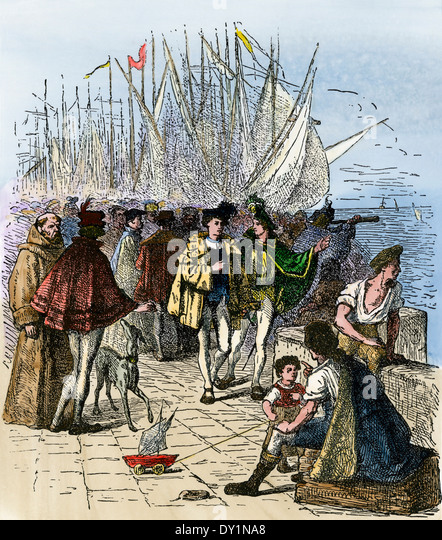 Busy Lisbon waterfront during the Age of Discovery, circa 1470. - Stock Image