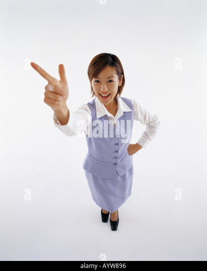 Young office woman in white background - Stock-Bilder