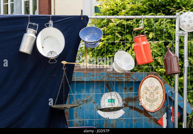 KORNELIMUENSTER, GERMANY, 18th June, 2017 - sieves and milk jugs for sale on the historic fair of Kornelimuenster - Stock Image