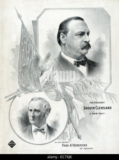 Campaign material for Cleveland and Hendricks - Stock Image