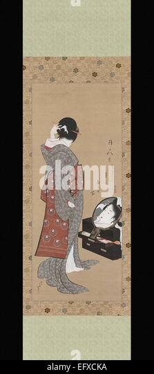 Katsushika Hokusai  Woman Looking at Herself in a Mirror - Stock Image