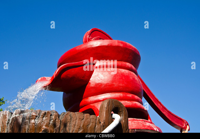 Fivels Playland kids playground with huge red water pump at at Universal Studios Orlando Florida - Stock Image