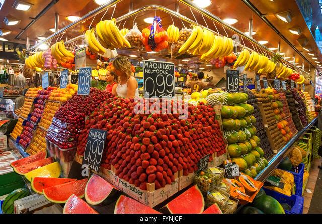 Fruits at Mercat de Sant Josep, Boqueria market, La Rambla, , Barcelona, Spain - Stock Image