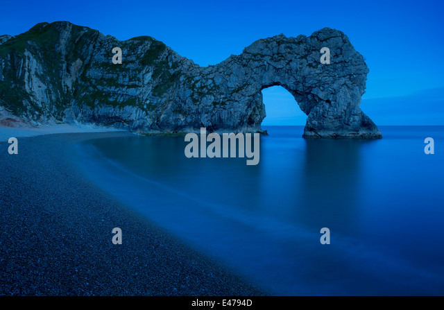 Night over Durdle Door along the Jurassic Coast, Dorset, England - Stock Image