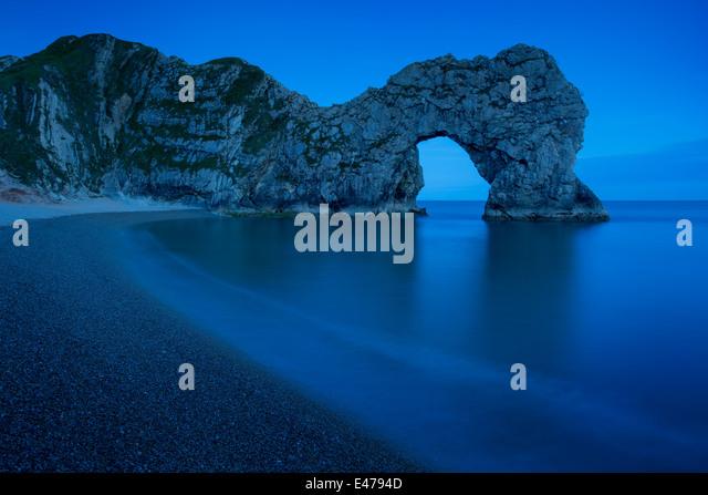Night over Durdle Door along the Jurassic Coast, Dorset, England - Stock Image
