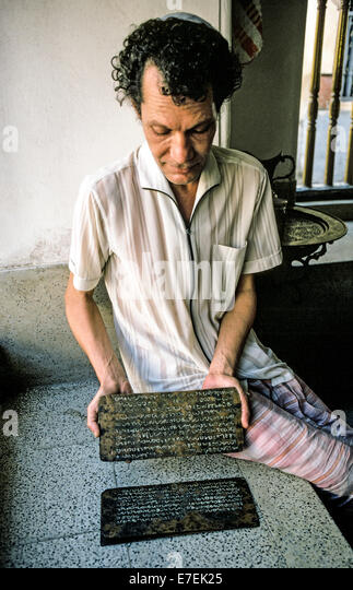 Sonny Cohen displays priceless copper plates from the 10th Century with inscriptions in the Malayalam language that - Stock-Bilder