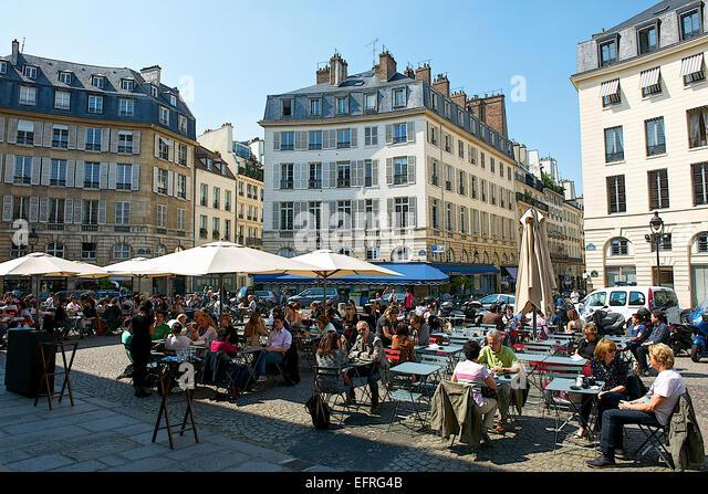 Ourdoor Café at Odeon Square, Paris, France - Stock Image