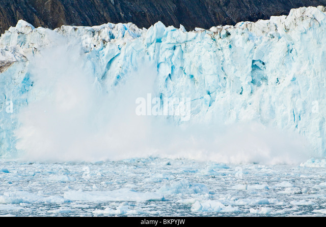 The face of Barry Glacer calves in Barry Arm of Prince William Sound, Chugach National Forest, Southcentral, Alaska - Stock Image