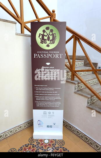 Banner advertising Bahrain's Cultural Tourism Passport Initiative, designed to encourage visits to places of - Stock Image