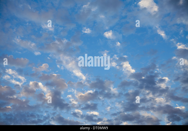 Seattle Washington USA Wispy clouds in blue sky nearing dusk Seattle USA - Stock Image