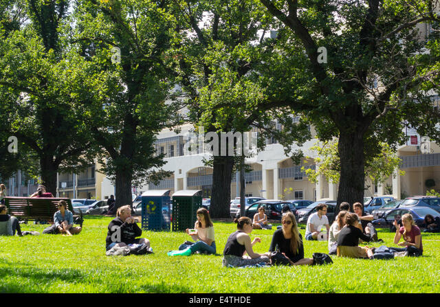 Melbourne Australia Victoria Carlton Parkville University of Melbourne campus school University Square student woman - Stock Image
