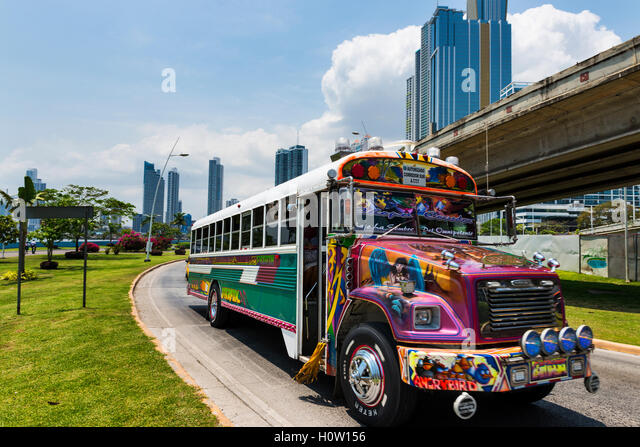 Panama City, Panama - March 17, 2014: Red Devil Bus (Diablo Rojo) in a street of Panama City. - Stock Image