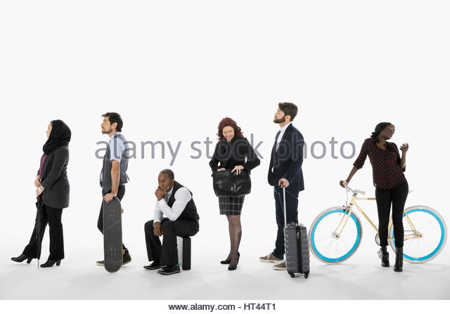 Business people commuting, waiting in a row in queue against white background - Stock-Bilder