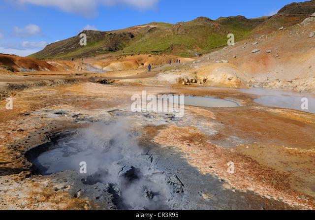 Iceland, Reykjavik Region, Krisuvik Valley, sulphur springs and fumaroles in the geothermal zone of Seltun - Stock Image