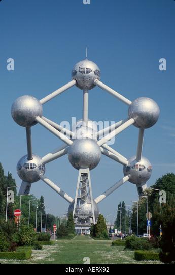Belgium Brussels Atomium 1958 World's Fair exhibit each sphere 18 meters wide design - Stock Image