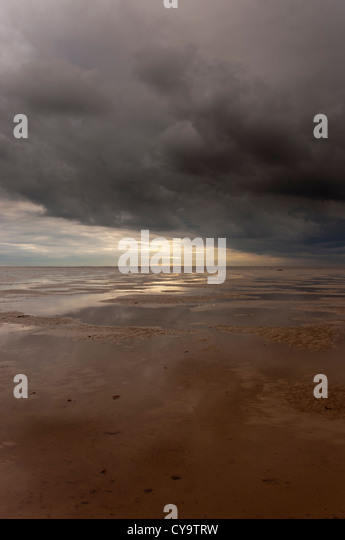 The Wash,winter across  sand mud flats with tide out - Stock Image