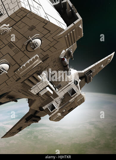 Interplanetary Spaceship Leaving Orbit, Close View - science fiction illustration - Stock Image