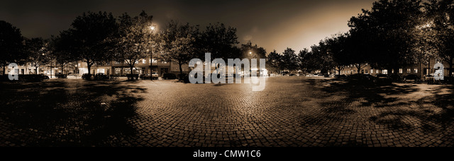 Panoramic view of town square - Stock Image