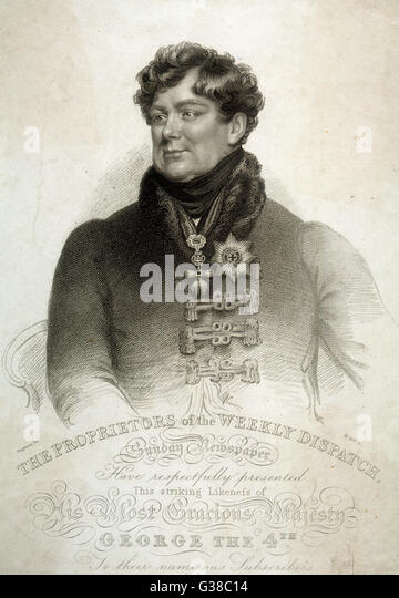 KING GEORGE IV OF ENGLAND  Half-length portrait        Date: 1762 - 1830 - Stock Image