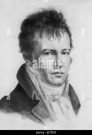 ALEXANDER von HUMBOLDT (1769-1859) Prussian naturalist, explorer and scientist in a self portrait dated 1814 - Stock-Bilder