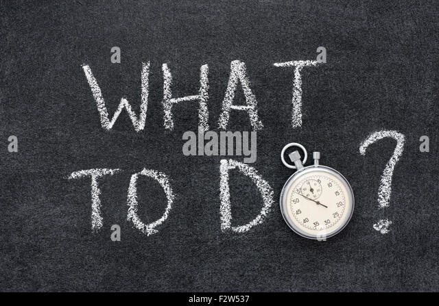 what to do question handwritten on chalkboard with vintage precise stopwatch used instead of O - Stock Image