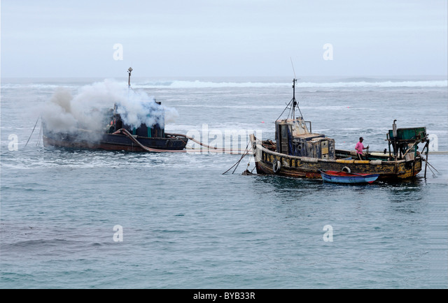 Off-shore diamond mining, diamonds sweepers with hoses to suck the silt from the seabed, Port Nolloth, Namaqualand, - Stock Image