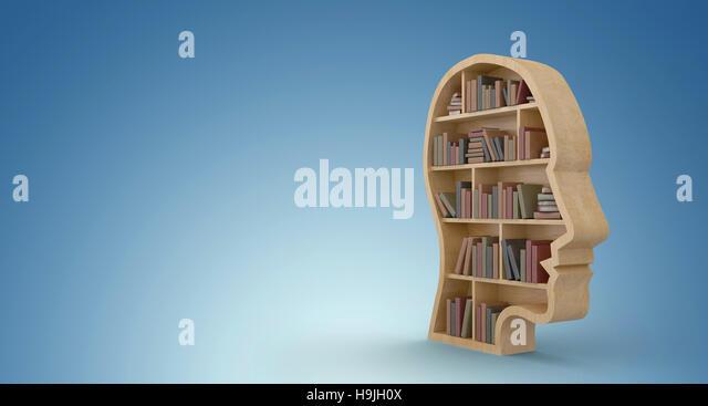 Composite image of human face shape bookshelves - Stock Image