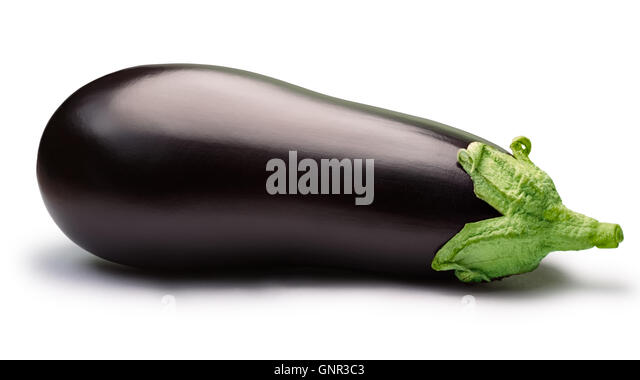 Eggplant (Solanum melongena), whole, fresh. Clipping path, shadow separated. Design elements - Stock Image