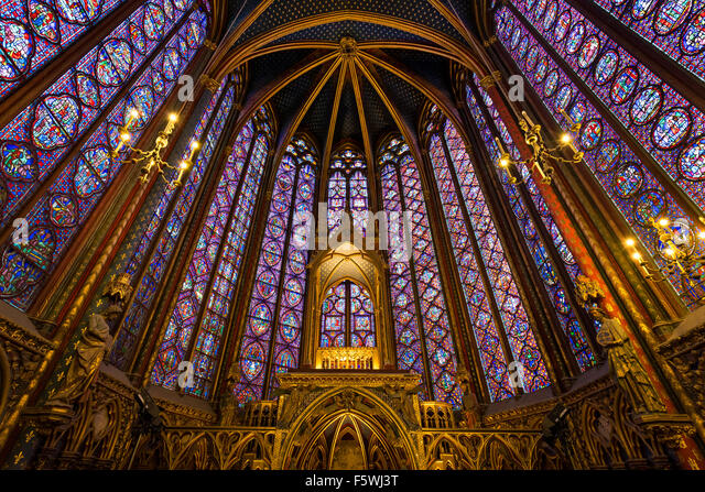 Stained Glass in the Sainte Chapelle (Holy Chapel) Interior. Gothic, Rayonnant architecture on Ile de la Cite Paris, - Stock Image