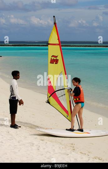 Wind surfing school, Full Moon Resort, Maldives, Indian Ocean - Stock Image