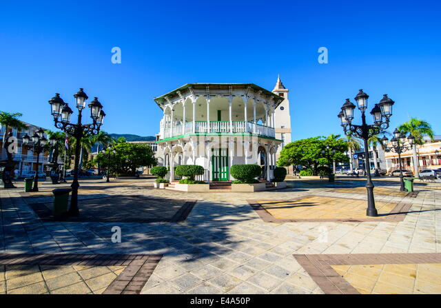 Town square of Puerto Plata, Dominican Republic, West Indies, Caribbean, Central America - Stock Image