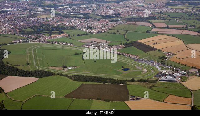 aerial view of Carlisle Racecourse in Cumbria, National Hunt horse racing track, Cumbria, UK - Stock Image