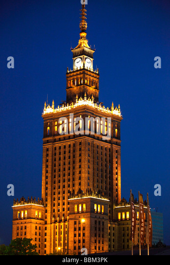 Poland Warsaw Palace of Culture and Science - Stock-Bilder