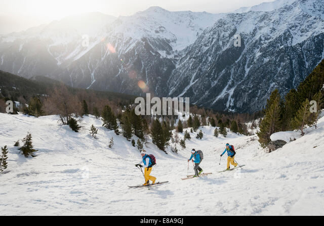 Winter landscape skiing tour cross-country - Stock Image