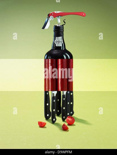 conceptual wine bottle - Stock Image