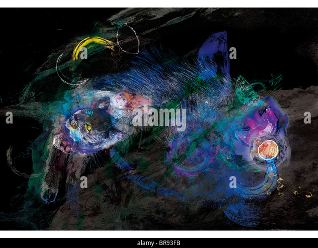 Abstract painting of cat - Stock Image