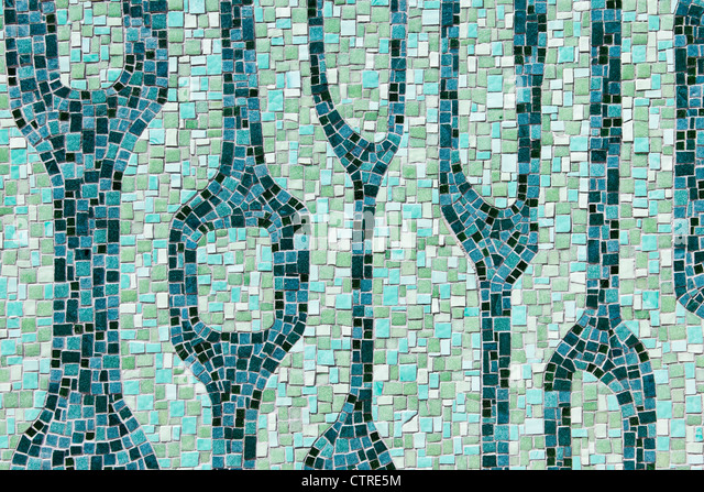 Mosaic on Miami River Walk, Downtown Miami, Florida, USA - Stock Image