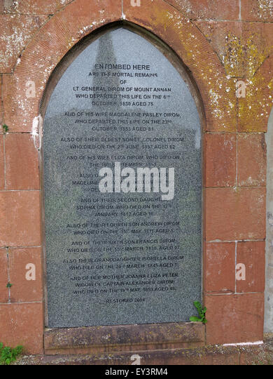 General Alexander Dirom of Luce and Mount Annan memorial in graveyard, Dumfries & Galloway, Scotland, UK - Stock Image