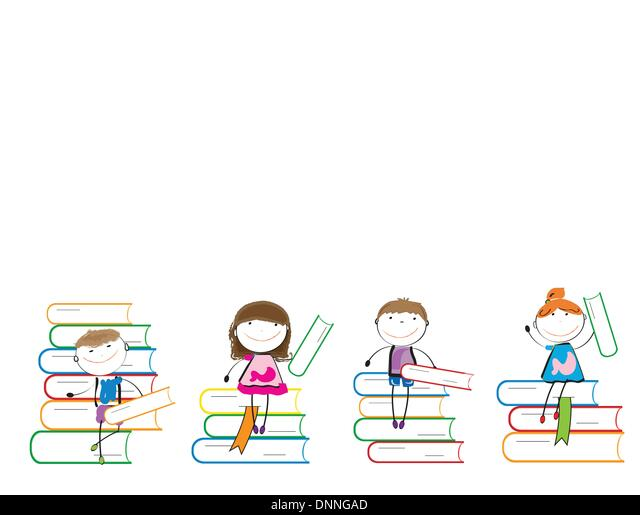 Happy colorful kids on many colorful books - Stock Image