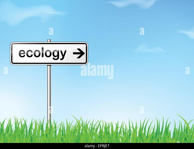 illustration of abstract ecology road sign direction - Stock Image