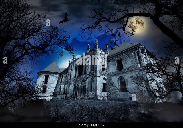 Haunted house in creepy foggy background with tree silhouettes. - Stock Image